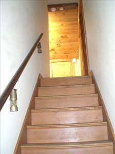 Stairs leading up to The Boat Builder's Apartment at The Boathouse