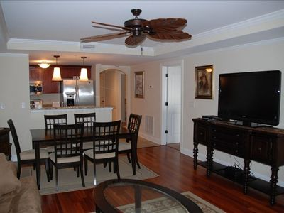 "Main Room Featuring 47"" Flat Screen TV, dining table, and comfortable seating"