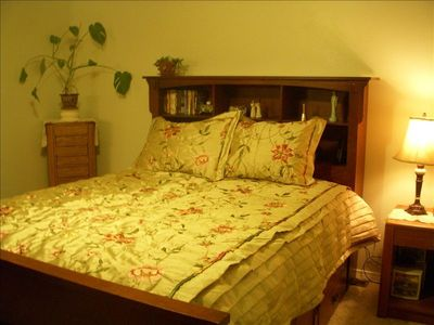 Master Bed Room features private bath and Queen, form fit matress.