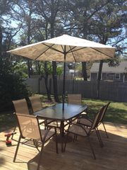 Dennisport cottage photo - Patio Table on deck - perfect for your morning coffee or your nightly clam bakes