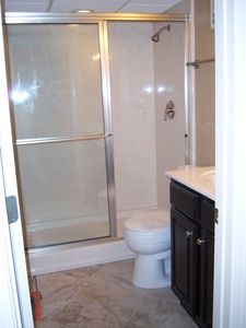 Newly remodeled bathroom with new tile flooring