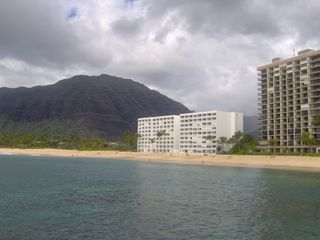 Makaha condo photo - Mahaha Beach Cabanas is the white building and condo is on the 6th floor
