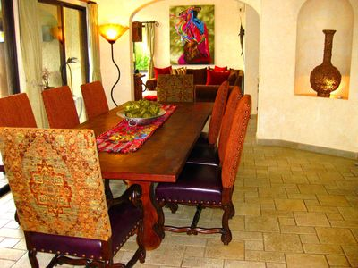 Mesquite dining table, leather/fabric chairs, pool and ocean views