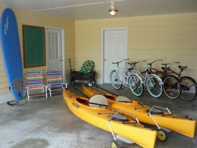 Free use of Surf board, 6 beach chairs, pull cart, kayaks, bikes, & more!