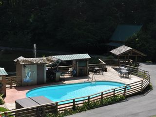 Roan Mountain house photo - Pool, Deck, Hot Tub and Bar area with outdoor stereo system