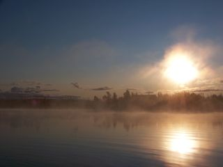 Big Lake cabin photo - sunrise mist