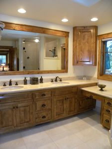 Master Bathroom #1 at Incline Cabin includes double sinks and a steam shower.