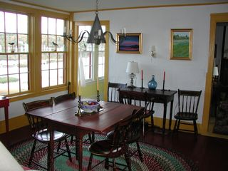 Machiasport cottage photo - The dining room with country antiques and bay view