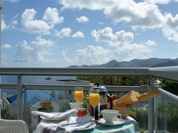 Pointe Pirouette condo rental - Breakfast on Bedroom Balcony