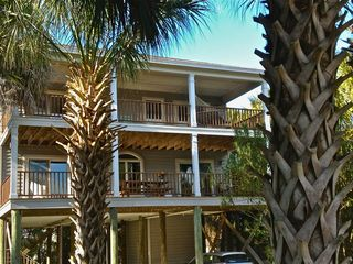 View of our beach house showing upper and lower decks. - Folly Beach house vacation rental photo