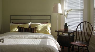 Queen size beds with down pillows, comforters and quality linens