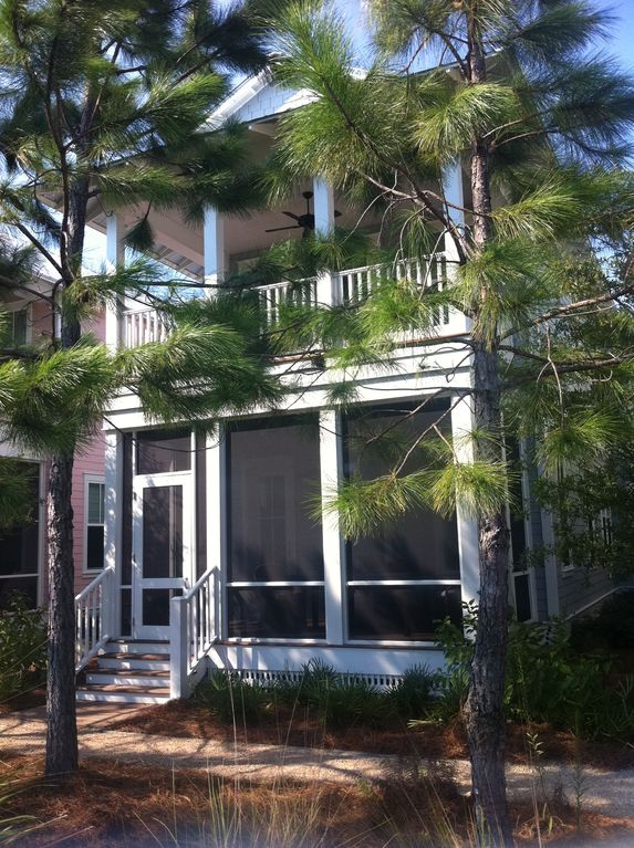 Seagrove Beach cottage rental - Front View Screen Porch & Balcony