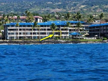 Kailua Kona condo rental - Our condo as seen from the ocean
