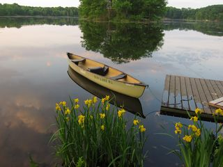 Stanfordville cottage photo - canoe at dock and spring daffodils