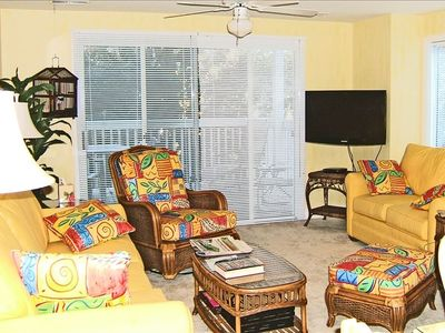 "Kure Beach condo rental - Living Room w/ View of Deck/36"" Samsung LCD TV and DVD player"