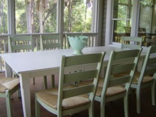 Kiawah Island house photo - Large dining table on screened porch