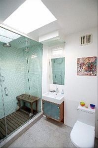 Mstr. Bathroom with Rain Shower Head and steam as well