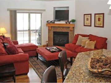 Comfortable living area with gas fireplace