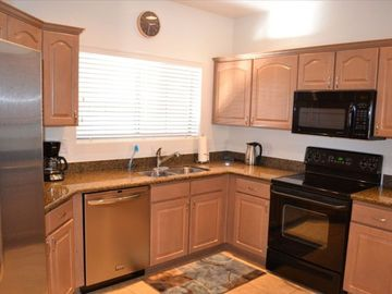 Kitchen with Granite Counters/New Stainless Steel Refrigerator/Dishwasher