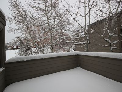 Deck adjacent to upstairs bedroom.