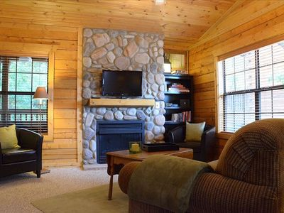 Enjoy romantic evenings watching movies in front of the toasty fireplace.