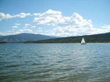 Views of Lake Dillon from the shore -- boat rentals available at the marina