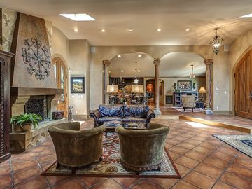 Nashville house rental - Living Room with wood burning fireplace and Italian furnishings. Open floor plan