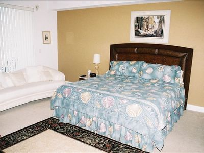 Mstr Bedroom wilh couch, mstr bath w/jacuzzi tub, walk in shower, 2 sinks.