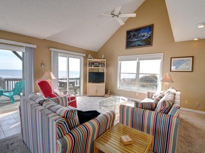 Great Room with spectacular views of the ocean, comfortable seating, kick back