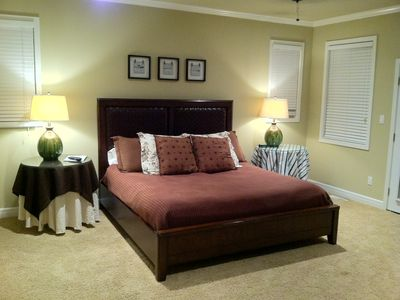 Master bedroom... wonderful king-sized platform bed.