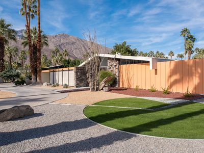 Historic home sits on a corner lot in the residential neighborhood of Twin Palms