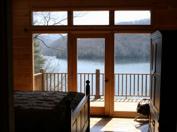 Lake Nantahala chalet rental - Master bedroom on main level (lake view!).