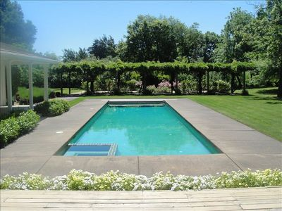 Healdsburg estate rental - View from Great room toward pergola