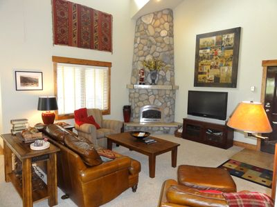 Steamboat Springs condo rental - Living Room with Large Rock Fireplace