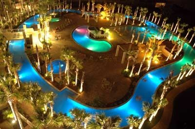 The Lazy River at night...beautful fiber optic lighting changes!