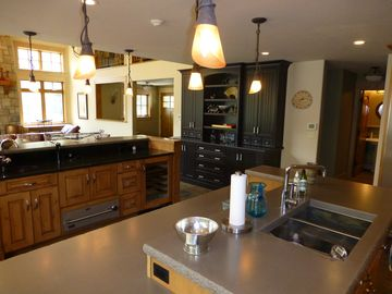 Kitchen Island with Wine Cooler and Drawer Warmer