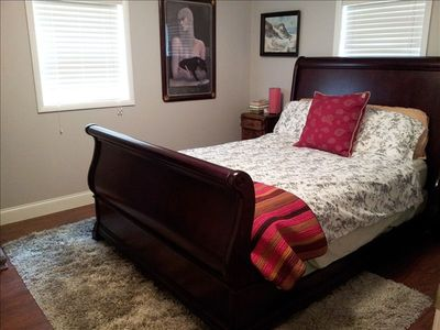 "Hiawassee chalet rental - The ""Serenity Place"" Gray Bedroom is the 3rd Bedroom with Queen & Flat Screen TV"