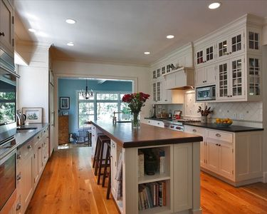 Bright spacious kitchen with 10ft. walnut island