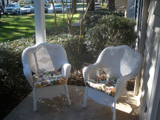 St. Simons Island condo photo - Patio is a great place to hang out; even has a ceiling fan.