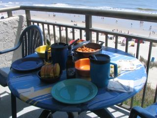 Blue Water Resort condo photo - Oceanfront Dining On The Balcony