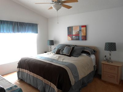 Master Bedroom with king-size bed, cable TV, DVD, ceiling fan and full en-suite.