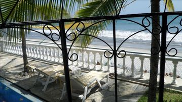 Looking down at the beach from the pool & gazebo