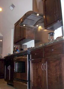 High End Restaurant Style Range Hood and GE Profile Appliances