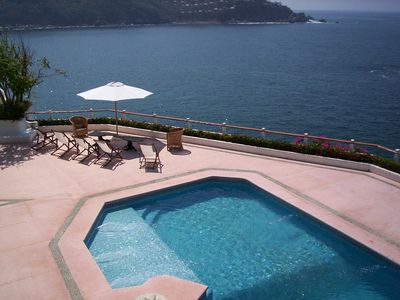 Upper terrace with pool with wading area. Outdoor Shower
