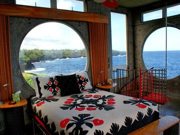 Upstairs bedroom with own bathroom - stunning ocean views