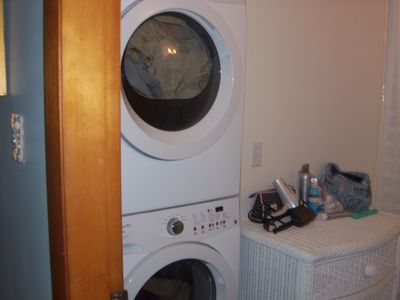 New warher and dryer in updated bathroom