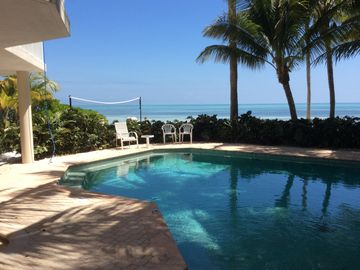 Lower Matecumbe Key house rental - Beautiful view from pool to volley ball to private beachfront