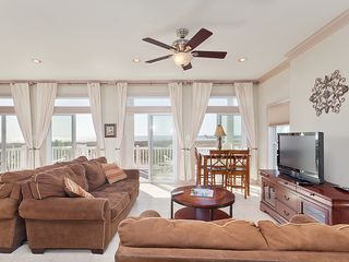 St. Augustine cottage photo - Living room with comfy couches, HDTV & sweeping views