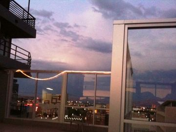 Dusk view to the east from the 16th floor deck, our favorite happy hour venue