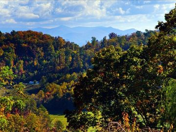 The view of Mt. Mitchell and the surrounding mountains from the cottage windows.